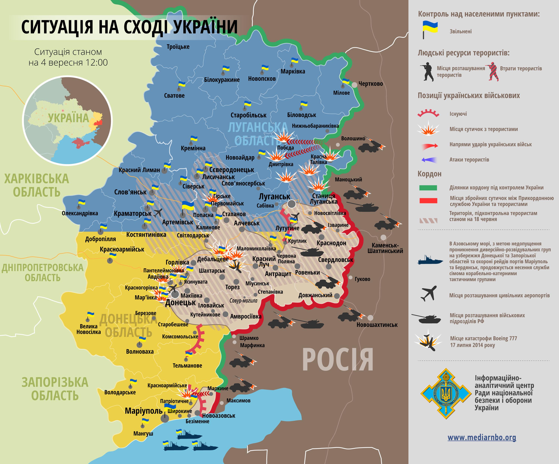 Карта: ситуация на востоке Украины на 04.09.2014