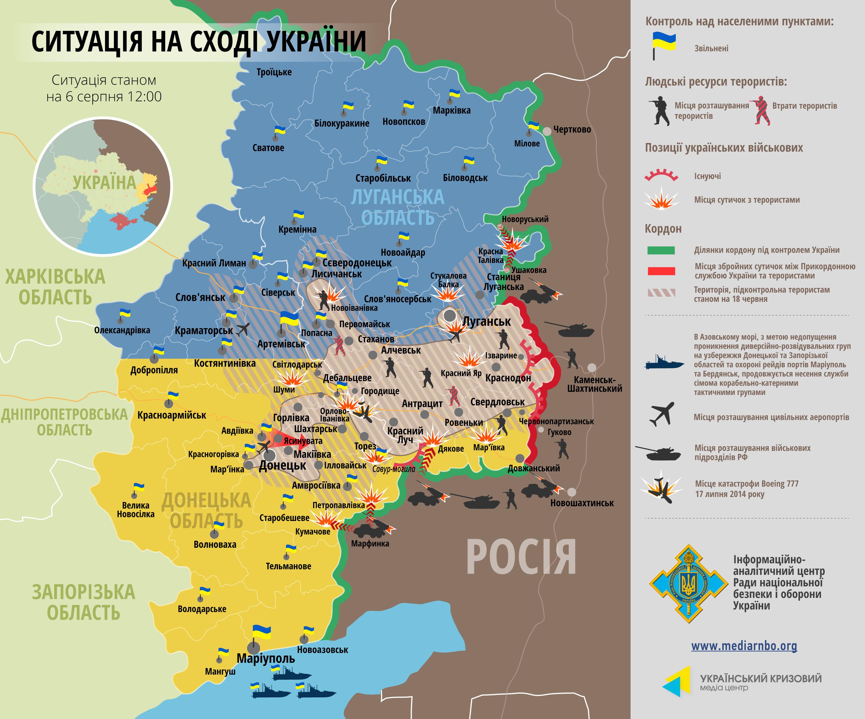 Карта: ситуация на востоке Украины на 06.08.2014