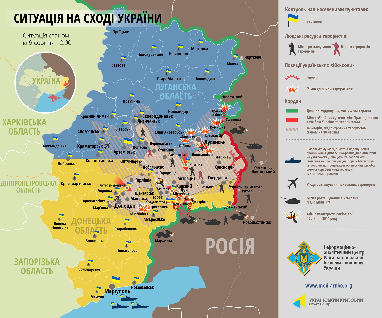 Карта: ситуация на востоке Украины на 09.08.2014