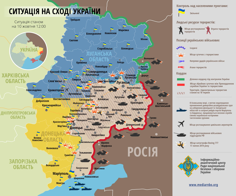 Карта: ситуация на востоке Украины на 10.10.2014
