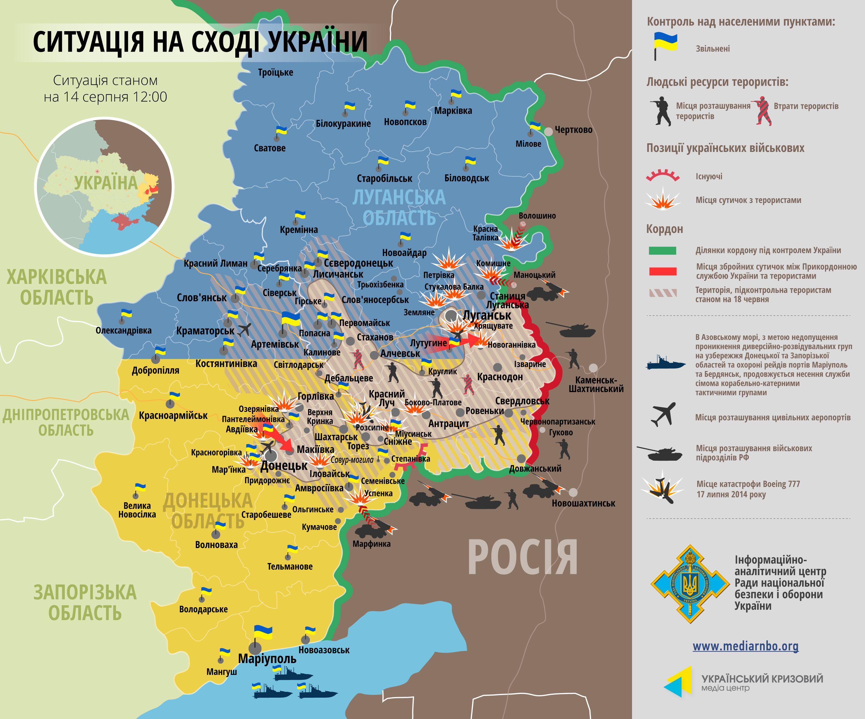 Карта: ситуация на востоке Украины на 14.08.2014