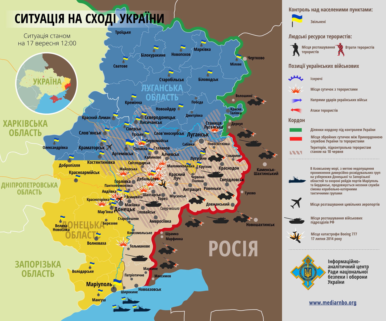 Карта: ситуация на востоке Украины на 17.09.2014