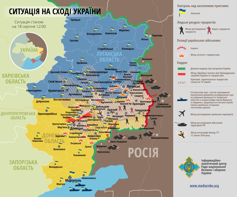 Карта: ситуация на востоке Украины на 18.08.2014