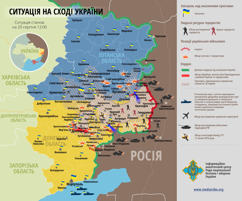 Карта: ситуация на востоке Украины на 20.08.2014