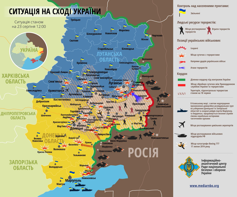 Карта: ситуация на востоке Украины на 23.08.2014