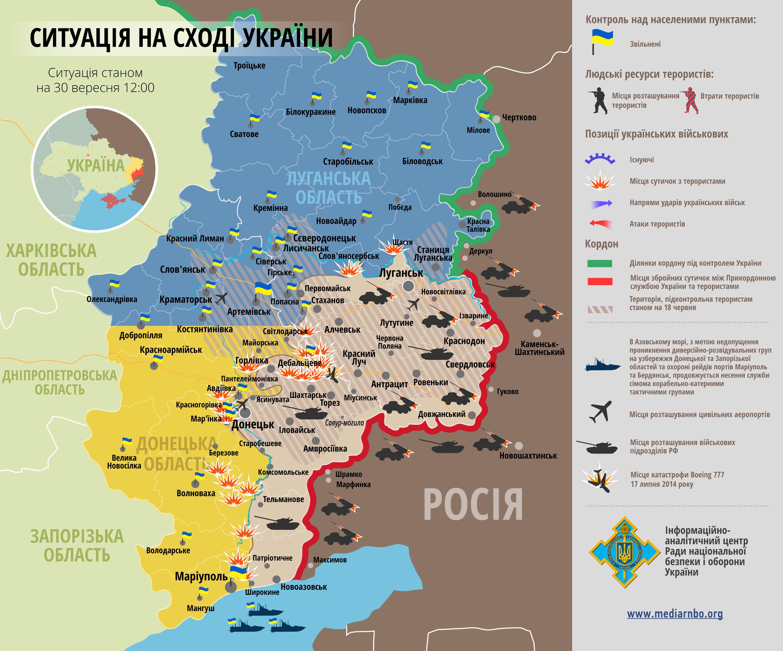 Карта: ситуация на востоке Украины на 30.09.2014